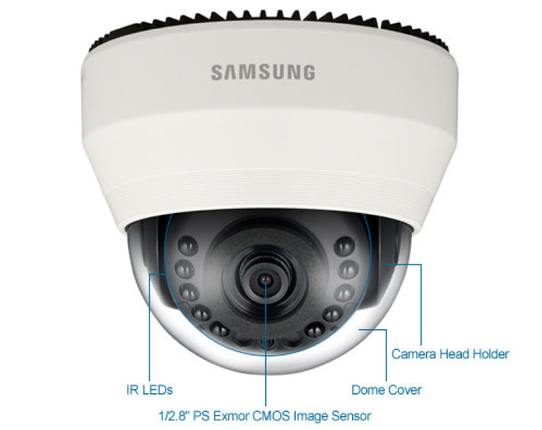 Samsung SND-6011R 2MP IR Indoor Dome IP Security Camera - 3.8mm Fixed Lens